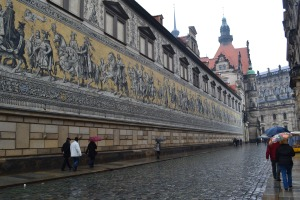 Historical tapestry in the rain