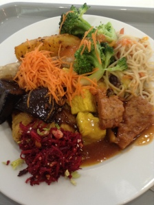 A plate of vegan food at Loving Hut