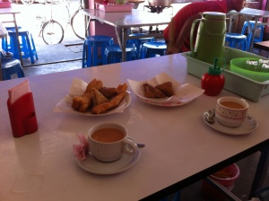 Tea and samosas at the Lucky Tea House