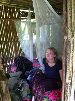 In our bamboo hut!